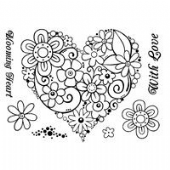 Woodware - Blooming Heart - Clear Magic Stamp Set - FRS273